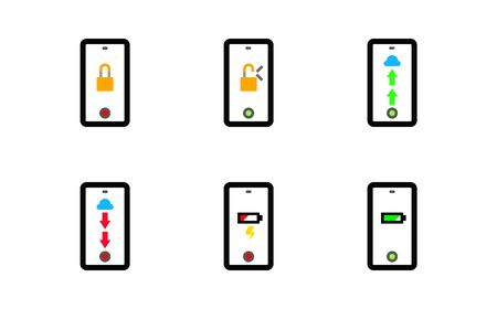 Icon concept mobile phone application, Upload and download file to cloud and lock unlock activity, Battery notification.