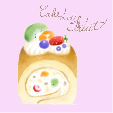 Concept water colour drawing creamy and fruit roll bake caked dessert on pastel color theme.