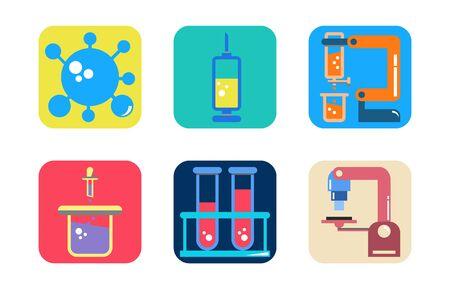 Icon set of healthcare equipment laboratory and Covid-19-Virus, microscope, Syringe, experiment and vaccine.  イラスト・ベクター素材