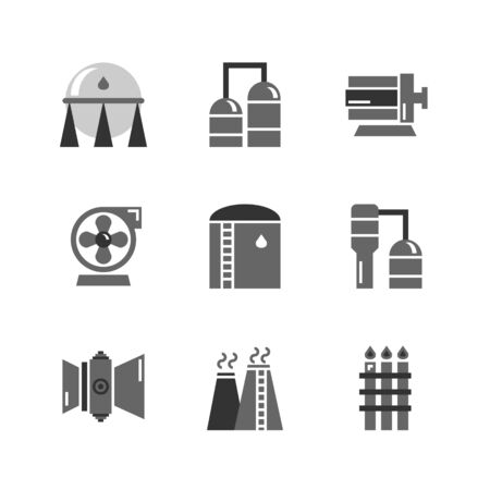 Heavy Oil and gas industrial icon set,tank,refinery columns,motor and pump,gas turbine engine,stack and flare.