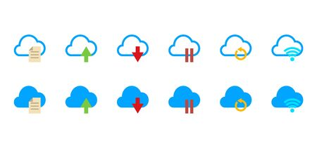 Icon set of cloud technology action, document upload,upload and dwonload speed , pause sync, cloud refresh, cloud refresh sync.