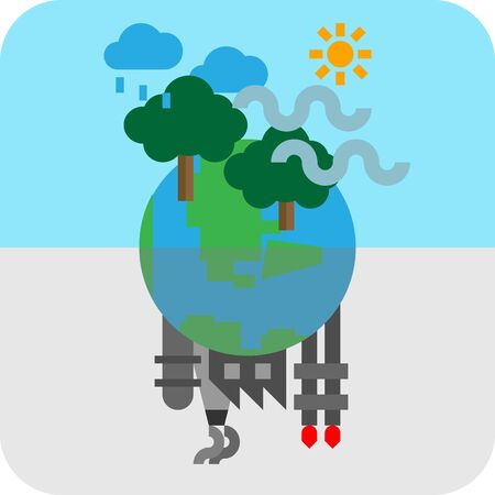 Icon of contrast environment on planet earth between heavy industrail pollution and green nature conservation. Climate change is the world issue made from industrial and dirty technology