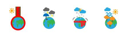 Icon set of planet earth in each season, hot summer, wet rainy, cold winter, windy autumn.