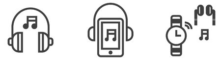 Icon set of music player equipments, wireless headphone, mobile music player, smart watch link earbuds