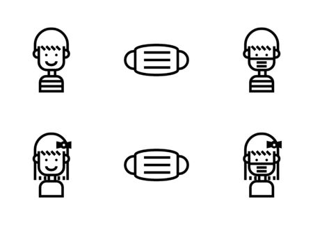 Icon set of human boy and girl with fabric medical mask in social distance of Covid 19 situation.  イラスト・ベクター素材