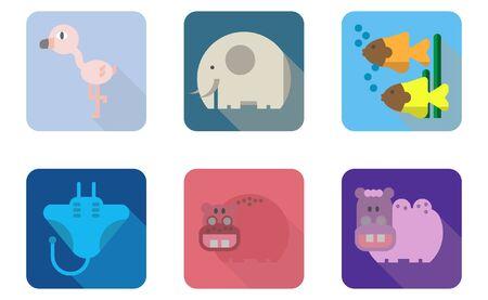 Logo set of animals from zoo and aquarium,flamingo,elephant,fish,manta ray,hippopotamus,camel.  イラスト・ベクター素材