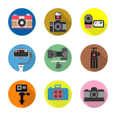 Icon set of photographer, digital camera,tripod, movie gimbal,flash, VDO camera, action camera with cycle icon and shadow design