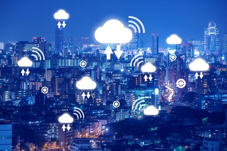 Wireless cloud technology, data communication media for big data calculation and analysis, anywhere access concept , digital twin, Internet of things concept.