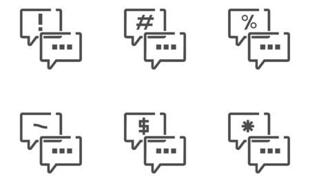 Thin line icon of chat balloon concept of keyboard symbol for graphic design