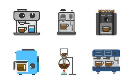 Coffee maker machine logo set, roasted coffee ,siphon drip fresh coffee , cafe modern coffee machine.
