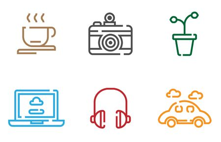 Thin line icon set of teenage hobby , plant feeding,photography,coffee, laptop, music headphone, car travelling.