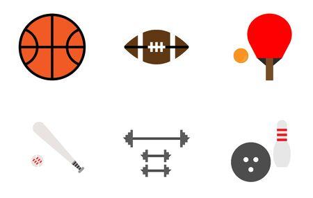 Sport equipments icon set, table tennis,basketball,baseball,bowling,american football,weight training.