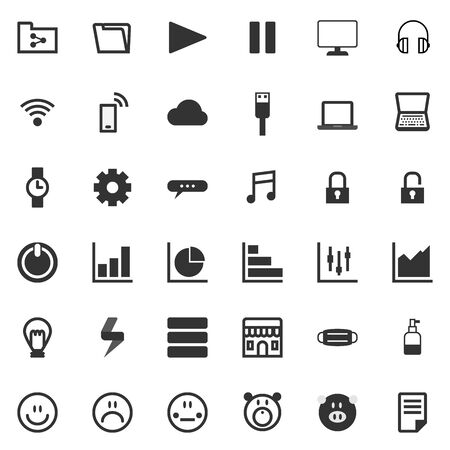 Icon set design for website concept and any gerneral business technology presentation material and advertisement.  イラスト・ベクター素材