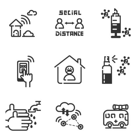 Icon set of activity during Covid-19 virus pandemic, Stay home , keep social distance, online shopping, cloud technology.