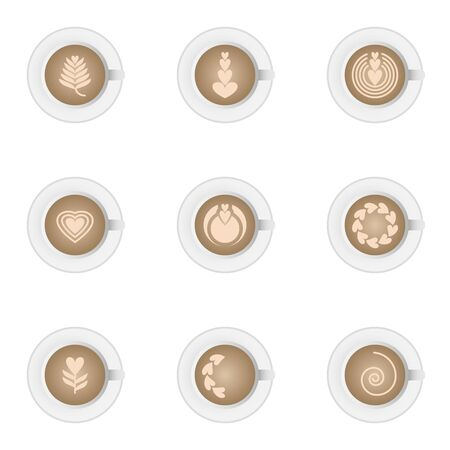 Icon set of hot cup of fresh latte art coffee vintage heart pattern for cafe design and advertisement.