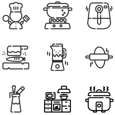 Icon set of electric kitchen equipments and chef symbol, spinner, air fryer, bread maker, cutting plate and knife, espuma  イラスト・ベクター素材