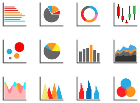 Icon set of colored information chart for infographic presentation and web dashboard  イラスト・ベクター素材