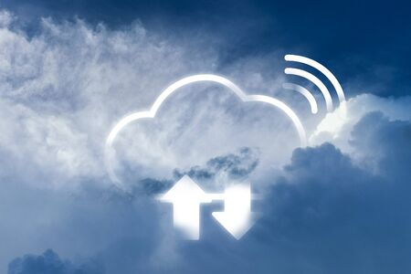 Cloud computing technology combine with white cloud on the sky. Wifi connection and upload download symbol link with cloud.
