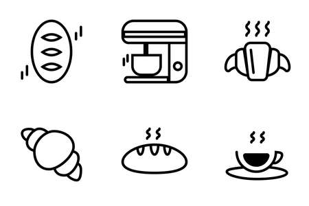 Icon set of baked bread dessert for coffe time, french crossiant and bread with black espresso hot coffee.