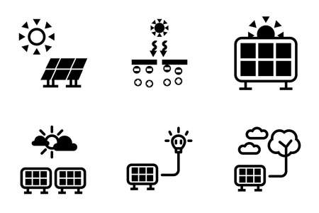 Renewable energy from sun light, solar cell application icon for save the earth environment instead fuel electrical generate