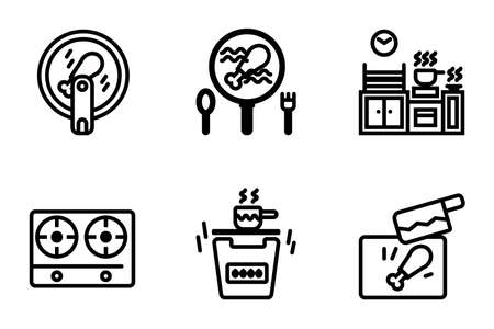 Icon set of electric kitchen equipments and cutting plate and knife, air fryer, gas stove