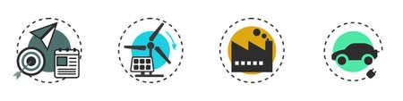 Icon set of green energy conservation, renewable energy, battery charging EV car. 일러스트