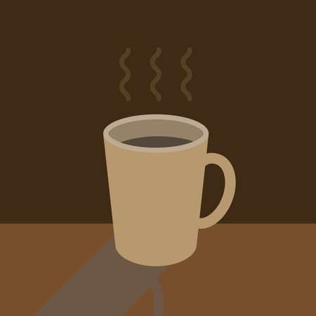 Graphic of simple espresso cup of hot coffee  for breakfast time