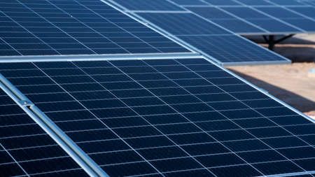 Photovoltaic renewable energy solar farm site for electrical supply for future. Green energy is main power for future 스톡 콘텐츠