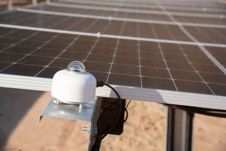 Pyranometer light metering in solar farm photovoltaic generate green renewable energy electrical supply to electircal