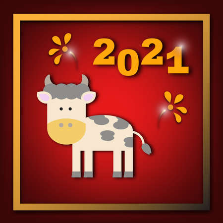 Cow zodiac cartoon for Chinese New year card for 2021. Paper cut design for celebration ceremony.