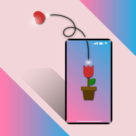 Mobile phone with tulip flower send heart to lover on valentine day gift card. E-letter card technology for couple. 일러스트