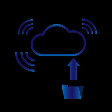 Technology graphic design of cloud computing big data uploaded and bring data via wifi data pipeline 일러스트