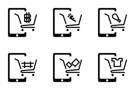 Online shopping via mobile application marketing cart. Icon for shopping advertise material, present, food carrot, T-shirt, chicken