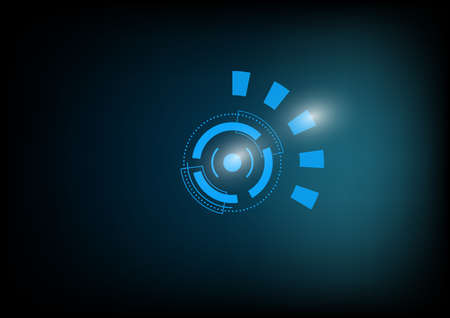 Hi tech motion with flare abstract digital background. Eye circle for upgrade technology theme presentation background 일러스트