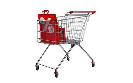 3D rendering shopping bag screen percent discount in shopping cart. Stock Photo