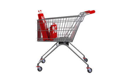 3D rendering shopping bag screen percent discount in shopping cart. Stock Photo