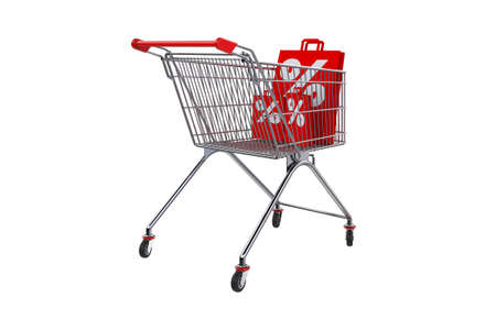 gift basket: 3D rendering shopping bag screen percent discount in shopping cart. Stock Photo
