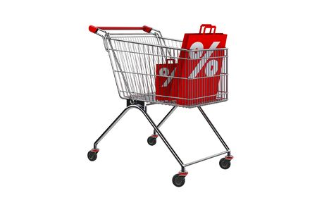 3D rendering shopping bag screen percent discount in shopping cart. Foto de archivo