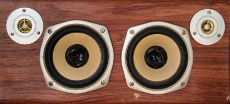 Age-old loud speaker system with wood finish Stock Photo