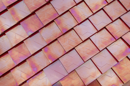 metalized: Red metalized roof tiles background Stock Photo