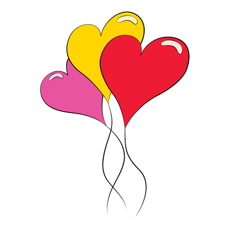 multi color: multi color heart balloons on white background.