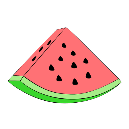 watermelon slice: Vector watermelon slice on white background.