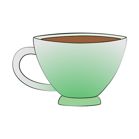 steam of a leaf: Vector cartoon teacup on white background. Illustration