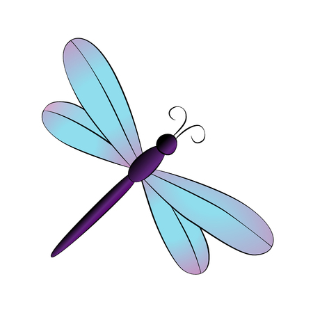 Vector cartoon dragonfly on white background. Ilustração