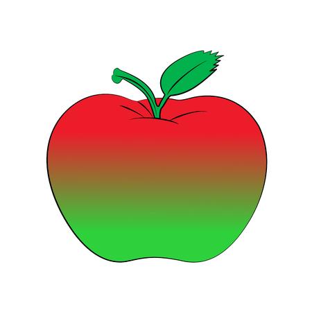 Vector Cartoon Apfel auf weißem Hintergrund.