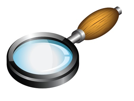 Magnifying glass with wooden handle.  Vector illustration