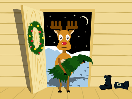 Rudolf brought home a Christmas tree. Cartoon vector illustration