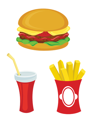 Fast food set. Hamburger fries and drink. White background.