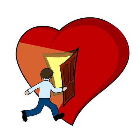 Creative illustration of a heart with open door. Vector