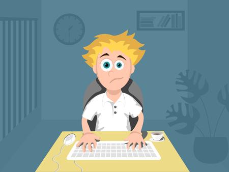 Programmer work at night. Cartoon vector illustration Vectores